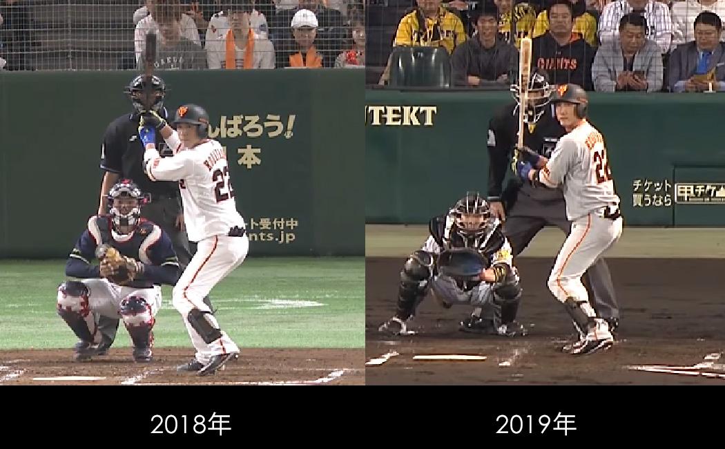 小林誠司のバッティングフォームの比較。2018年と2019年ではバットの位置が明らかに違う
